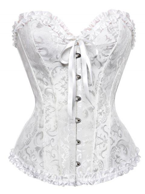 chic Lace Up Embroidery Corset - WHITE 2XL Mobile