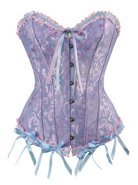 best Lace Up Embroidery Corset - LIGHT BLUE 6XL Mobile