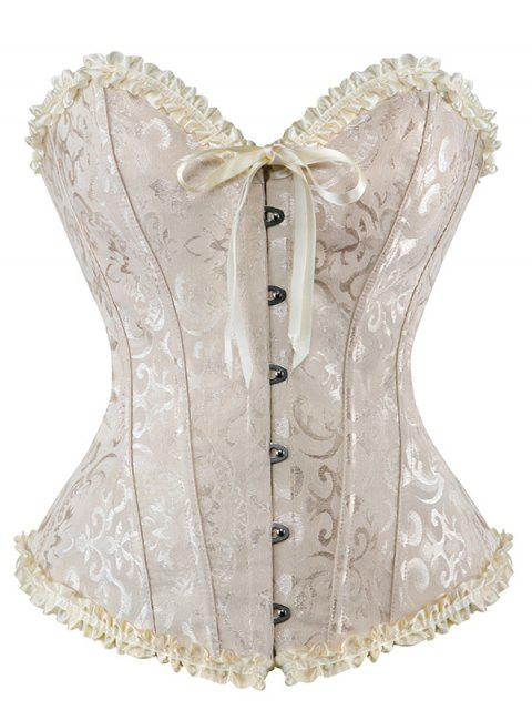 fancy Lace Up Embroidery Corset - APRICOT 2XL Mobile