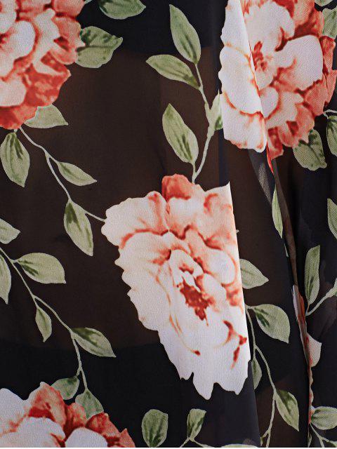 trendy Large Floral Kaftan Cover-Up - BLACK XL Mobile