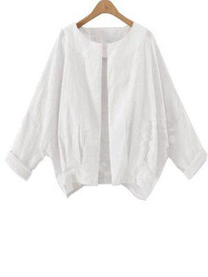 Solid Color Batwing Sleeve Round Neck Jacket - White L