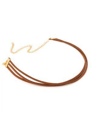 Strand Layered Velvet Choker Necklace - Brown