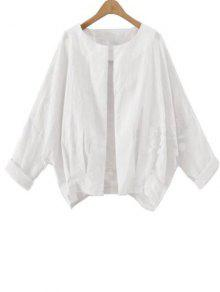 Solid Color Batwing Sleeve Round Neck Jacket - White Xl