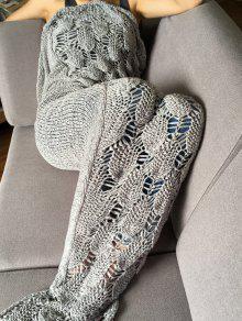 أنيق محبوك مقياس وشرابة تصميم حورية البحر الذيل شكل بطانية - رمادي