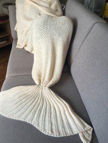 نمط بسيط الأبيض اليدوية الصوف محبوك حورية البحر تصميم بطانية - أبيض