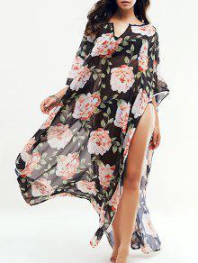 Floral Grande Kaftan Encubrimiento - Negro Xl