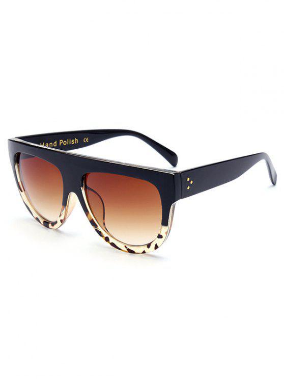 Lunettes de soleil monture noire motif de léopard - Noir