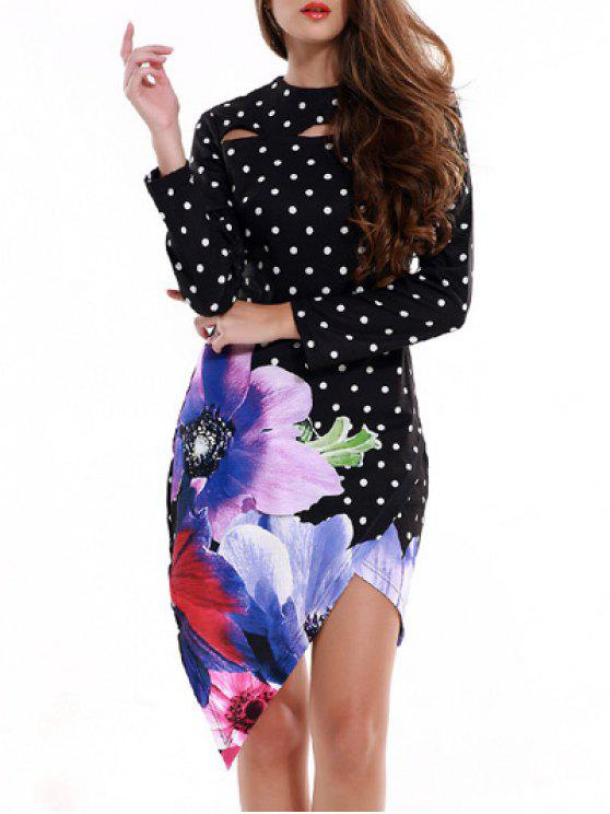 53385e1dc952 60% OFF] 2019 Polka Dot Floral Print High Low Bodycon Dress In BLACK ...