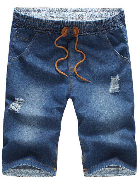 Calção de Jeans com Cinto Cordão Design Afligido de Lazer para Homens - Azul Médio L