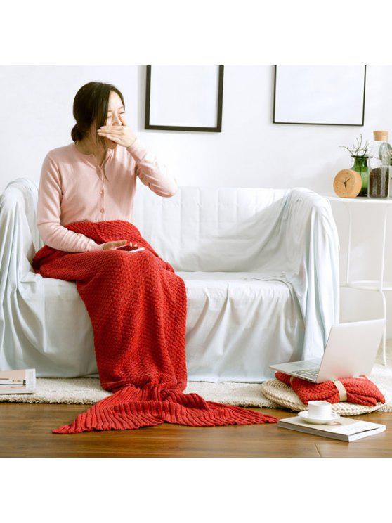 بطانية ميرميد محبوك - أحمر L