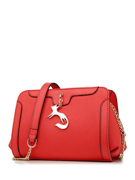 حقيبة مزينة بثعلب معدني - أحمر