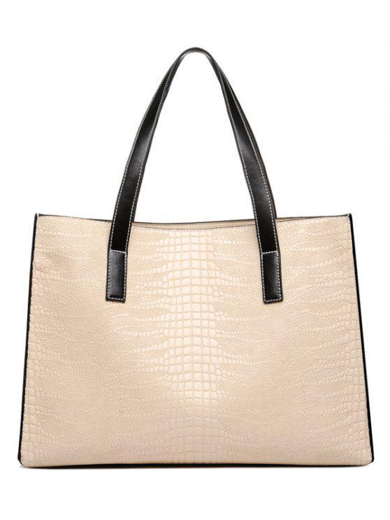 affordable Crocodile Embossed PU Leather Shoulder Bag - BEIGE