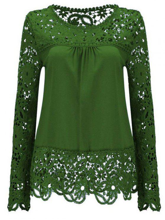 affordable Long Sleeve Sheer Lace Blouse - GREEN XL