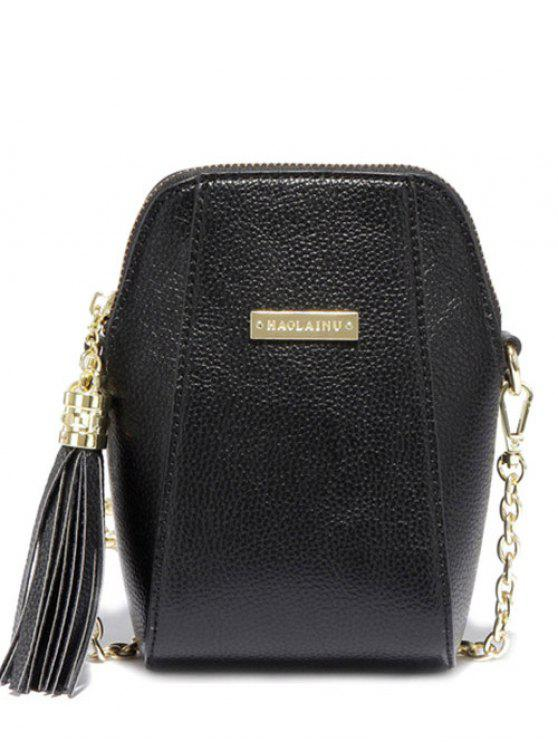 new Tassel Chains PU Leather Crossbody Bag - BLACK
