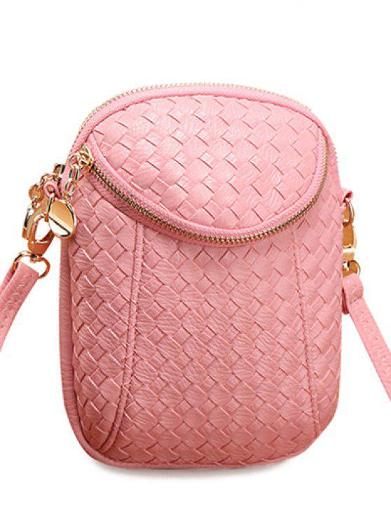 hot Weaving and Zip Design Women's Crossbody Bag - PINK