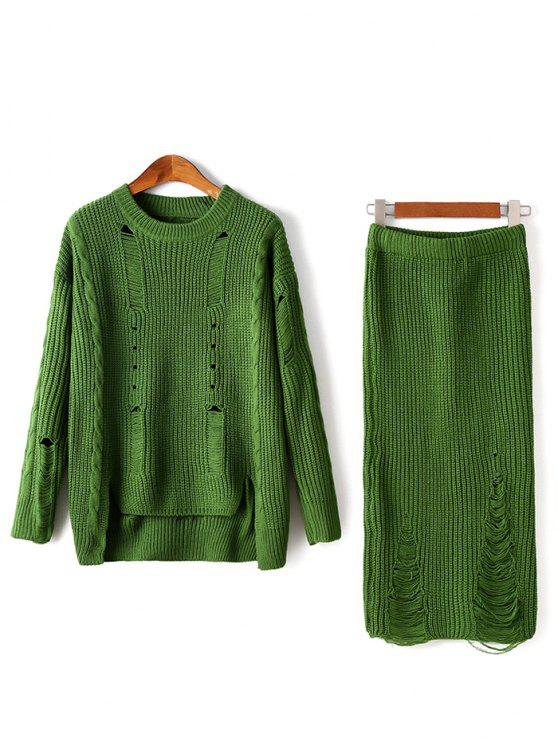 affordable Ripped Sweater and Knitted Skirt Twinset - GREEN ONE SIZE