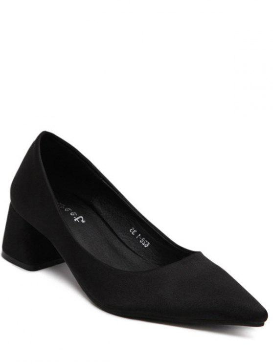 new Satin Black Color Pointed Toe Pumps - BLACK 38