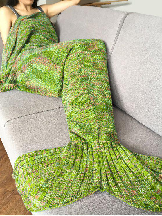 lady Knitted Super Soft Mermaid Tail Blanket - APPLE GREEN
