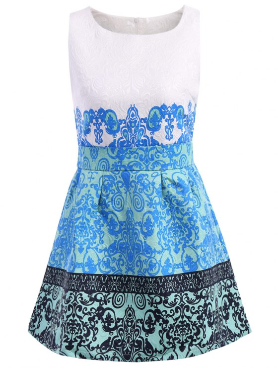 new Retro Print Scoop Collar Sundress - BLUE M
