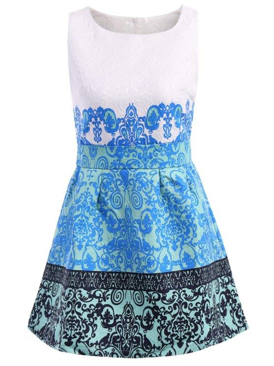 outfit Retro Print Scoop Collar Sundress - BLUE XL