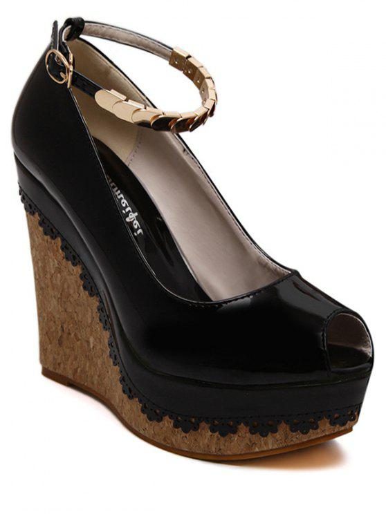 trendy Ankle Strap Metal Platform Peep Toe Shoes - BLACK 38