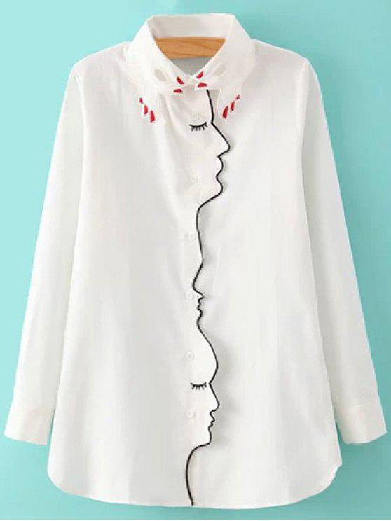 outfit Embroidery Shirt Collar Figure Pattern Shirt - WHITE L