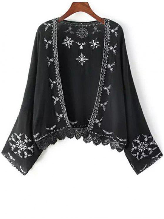 outfit Embroidery Spliced Batwing Sleeve Kimono - BLACK ONE SIZE