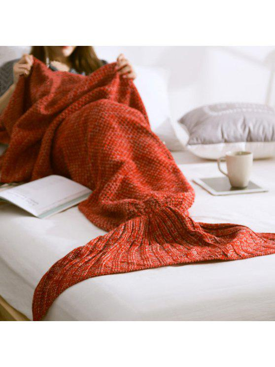 shop Warm Knitted Mermaid Tail Blanket - RED S
