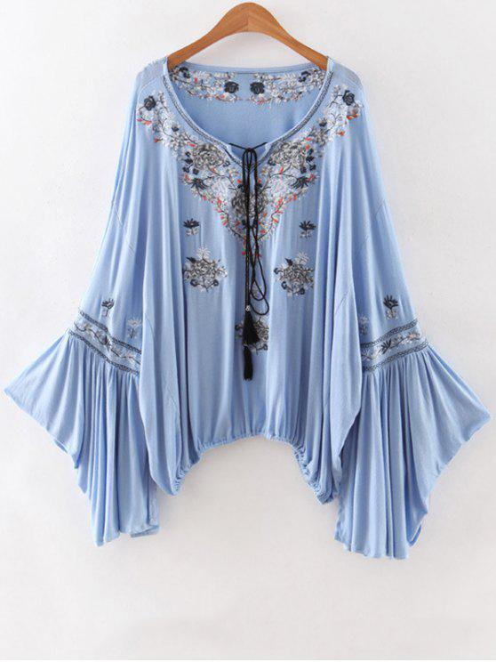 buy Embroidery Scoop Neck Loose Fitting Blouse - LIGHT BLUE L