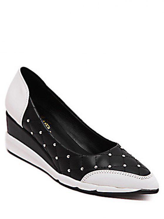 Motif Argyle Rivets Chaussures Wedge - Noir 38