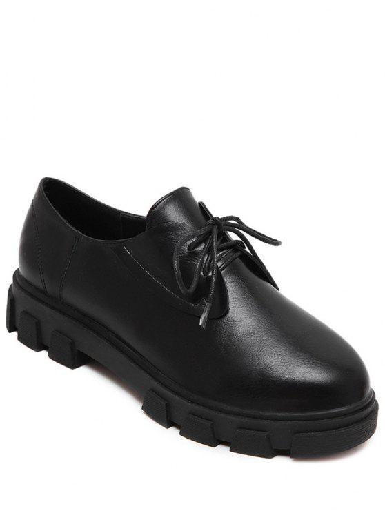 hot Black Color Tie Up Platform Shoes - BLACK 38
