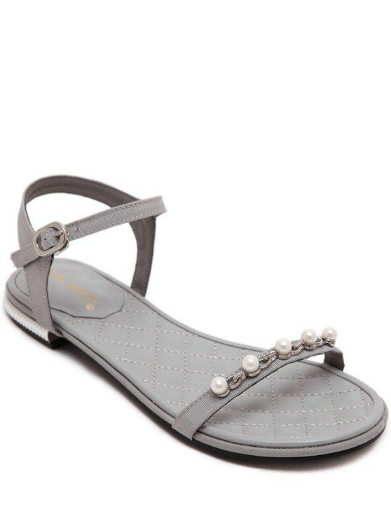 affordable Beading Flat Heel Solid Color Sandal - GRAY 38