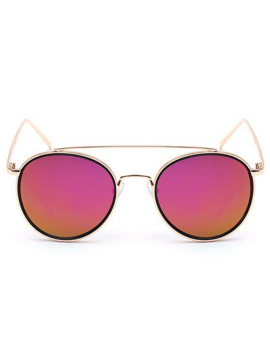 Gafas de sol de oro travesaño con espejo - Púrpura
