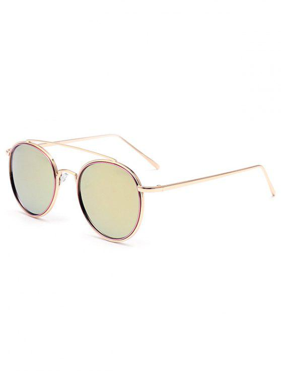 women Crossbar Pink Mirrored Sunglasses - PINK