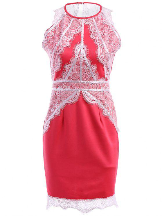 outfits Lace Splicing Slit Sleeveless Dress - RED M