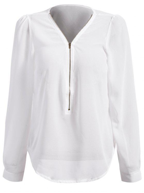 ladies Solid Color Plunging Neck Zipper Blouse - WHITE M