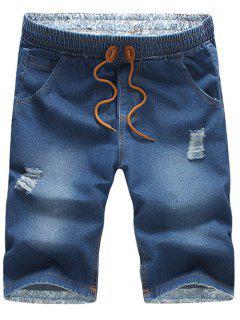 Casual Distressed Design Drawstring Waistband Denim Jeans Shorts For Men - Medium Blue M