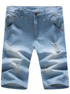 Stylish Light Wash Slim Fit Denim Blue Jeans Shorts For Men - Light Blue 30