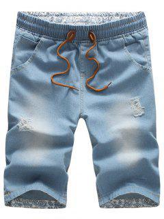 Casual Distressed Design Drawstring Waistband Denim Jeans Shorts For Men - Light Blue 3xl