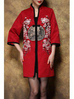 Stand Collar Coat Fleur Brodé - Rouge Vineux  M