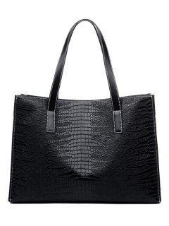 Crocodile Embossed PU Leather Shoulder Bag - Black