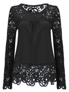 Long Sleeve Sheer Lace Blouse - Black M