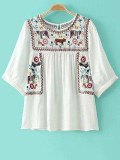 Animal Broderie Col Rond Manches 3/4 Blouse - Blanc M