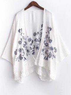 Floral Embroidery Batwing Sleeve Kimono Blouse - White S