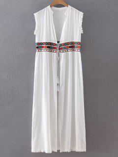 Embroidery Stand Neck Long Waistcoat - White S
