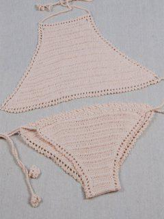 Crochet High Neck Bikini Set - Beige