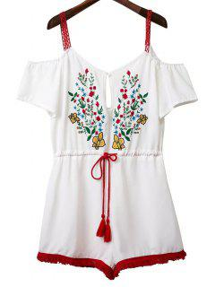 Spaghetti Straps Floral Embroidery Short Sleeve Romper - White S