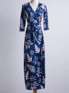 3/4 Sleeve V Neck Maple Leaf Print Maxi Dress - Blue M