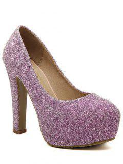 Sequined Cloth Platform Chunky Heel Pumps - Light Purple 38