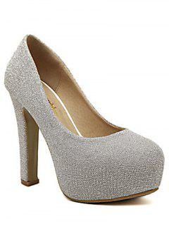 Sequined Cloth Platform Chunky Heel Pumps - Silver 38